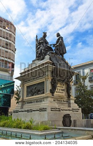 Monument To Ferdinand And Isabella In The Plaza Isabel La Catolica, Granada,