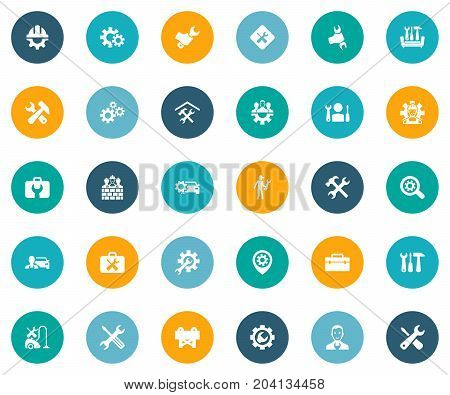 Elements Cogwheel, Pin, Magnifier And Other Synonyms Team, Detail And Wrench.  Vector Illustration Set Of Simple Fixing Icons.