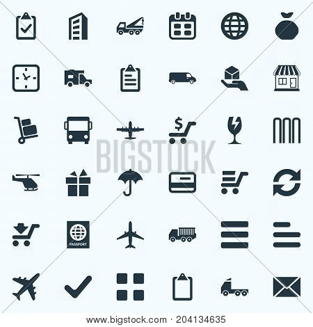 Elements Clipboard, Roster, Express Carriage And Other Synonyms Classify, Rain And Task.  Vector Illustration Set Of Simple Delivery Icons.