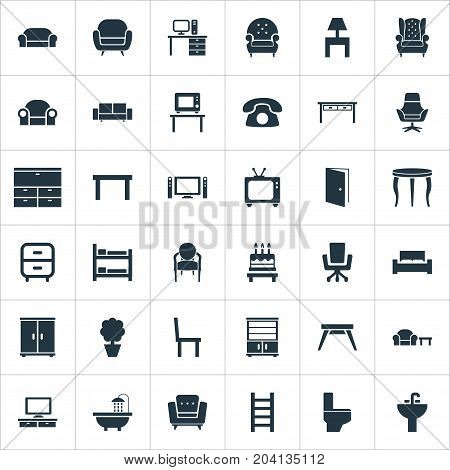 Elements Bathroom, Cinema System, Tv And Other Synonyms Folding, Lounge And Cinema.  Vector Illustration Set Of Simple Furniture Icons.