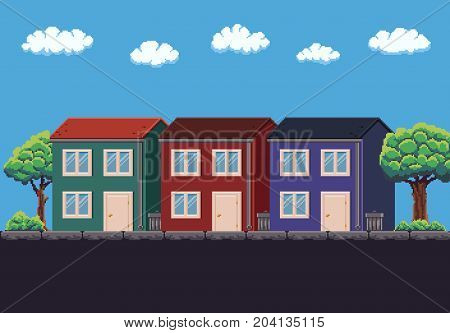 Pixel art 8-bit three two-storey houses, trees and sky with clouds