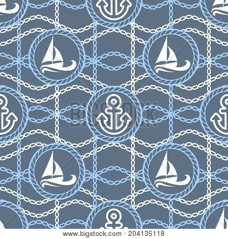 Vector illustration seamless pattern. Marine theme boats, anchors and chains