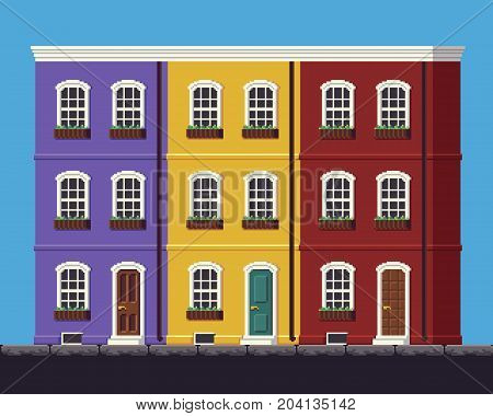 Pixel art 8-bit three multy-storey bright european houses and sky with clouds