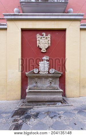 Fountain In The Plaza Del Padre Suarez In Granada