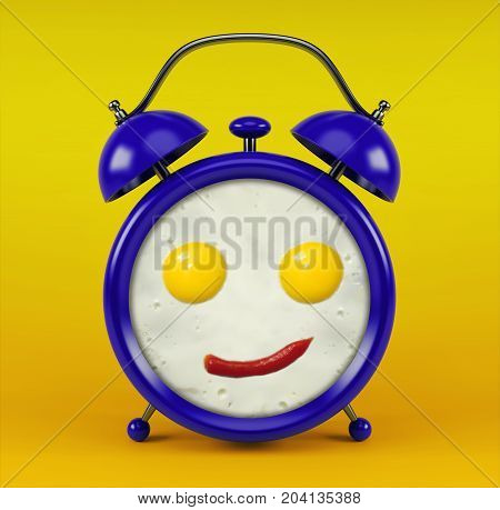 Blue alarm clock with funny face omelet concept - isolated on yellow background
