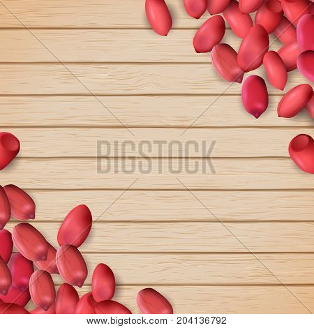Arachis or peanuts background with red scattered nuts