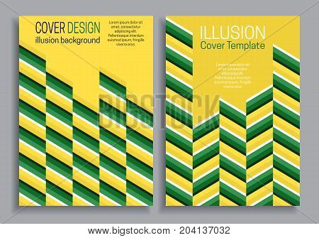 Yellow green book cover templates with optical motion illusion design.