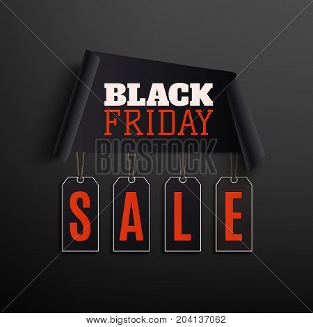 Black friday sale abstract design. Curved papper banner with price tags isolated on black background. Vector illustration.