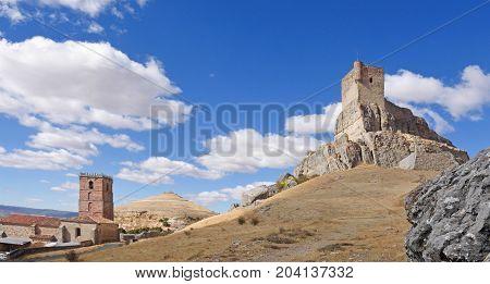 Castle And Santa Maria Del Mar (route Of Cid And  Don Quixote), Atienza,guadalajara Province, Castil