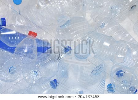 Detail of some Plastic recycled bottles of water