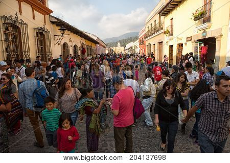 February 8 2015 Antigua Guatemala: busy street in the colonial town popular with tourists