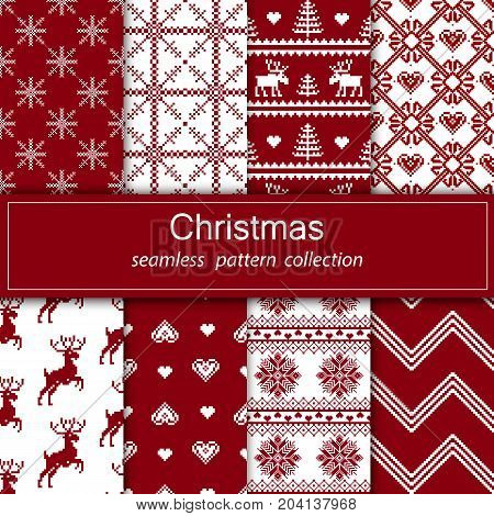 Set of seamless fabric. The occasion. Merry Christmas and happy New year. Pixels. White and red color. Background gift wrapping design pattern ornament background website. Stock vector