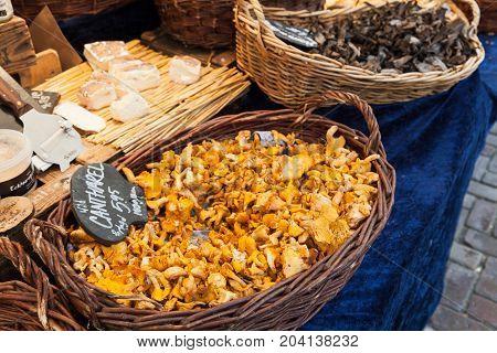 Wild Chanterelle. Goods Of Outdoor Market