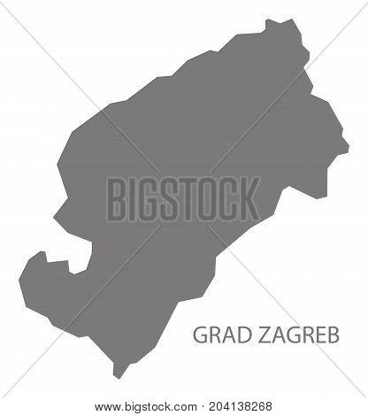 Grad Zagreb Croatia County Map Grey Illustration Silhouette Shape