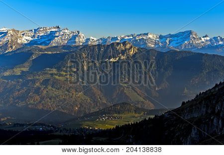 Grand Muveran massif and the Dents des Morcles peaks Alpes Vaudoises Leysin Vaud Switzerland