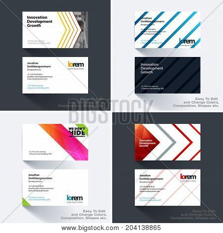 Vector business card template with many colourful rectangles, abstract lines for tech, market, construction, company. Simple and clean design. Creative corporate identity layout set with effects.