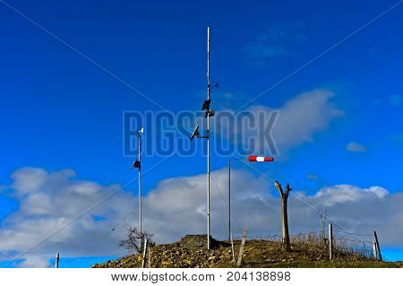 Solar-powered measuring point of meteorological data Haute-Savoie France