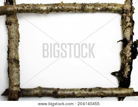 Wooden frame of old sticks isolated on white