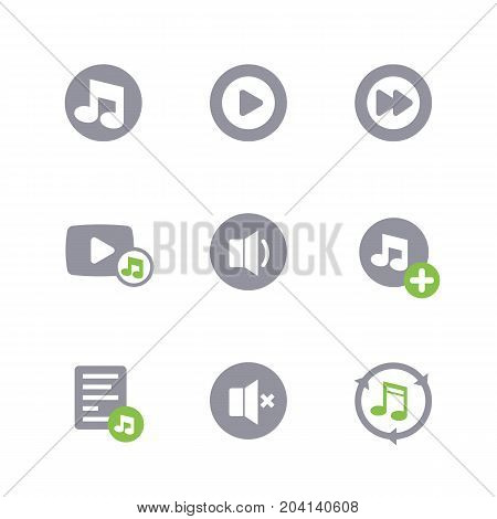 music icons on white, eps 10 file, easy to edit