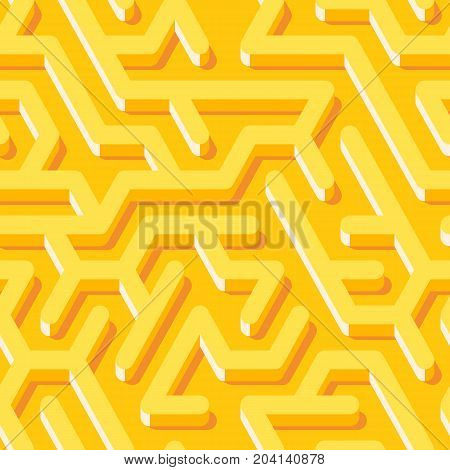 Maze seamless pattern with yellow endless tiled labyrinth for fabric or wallpaper