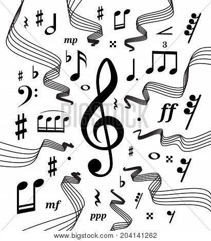 Wavy music staves. Vector illustration set on white background