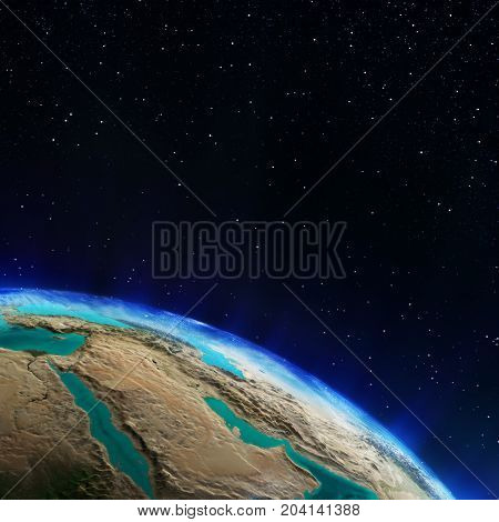 Middle East. Elements of this image furnished by NASA 3d rendering