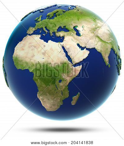 Earth model - Africa and Eurasia. Elements of this image furnished by NASA 3d rendering