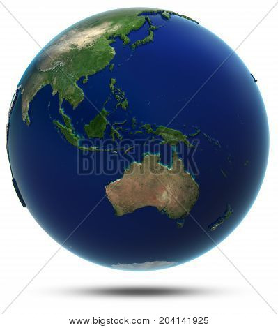 South-East Asia and Oceania. Elements of this image furnished by NASA 3d rendering