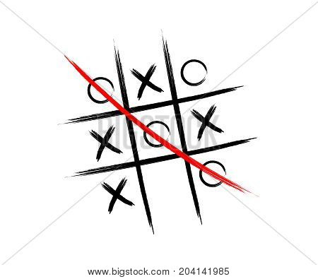 Tic tac toe game vector illustration. Symbol and icon