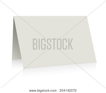 White folder paper greeting card vector template. Business mock up fold brochure illustration
