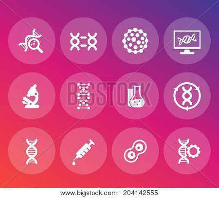 genetics icons set, dna chains, genetic modification and research