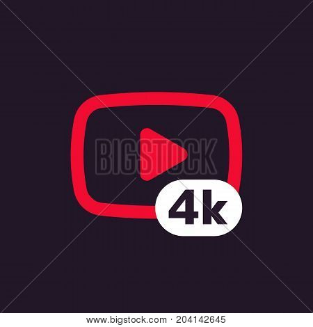 4K video icon, eps 10 file, easy to edit