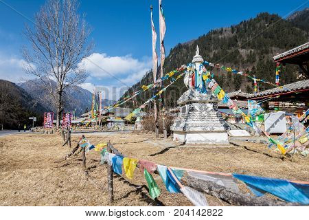 Gompa in the Tibetan village of Jiuzhaigou is decorated with Prayer flags, Sichuan, China