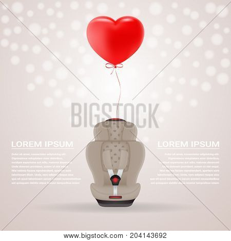 Beige Child Car Seat With Red Baloon In Shape Of Heart Isolated On A Background. Vector Illustration. Products For Children