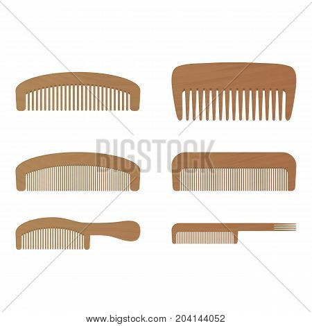 Comb , Barber Comb, Wooden Comb Isolated On A White Background. Vector Illustration. Hair Products