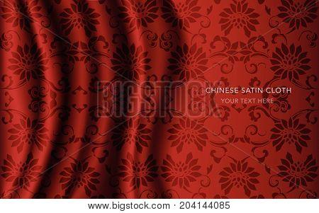 Traditional Red Chinese Silk Satin Fabric Cloth Background Cross Spiral Garden Flower Vine
