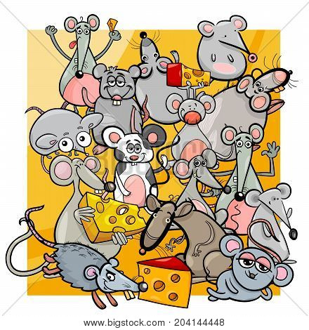 Cartoon Mice And Rats With Cheese