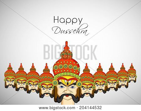 illustration of ten faces of evil Ravan with Happy Dussehra text on the occasion of hindu festival Dussehra