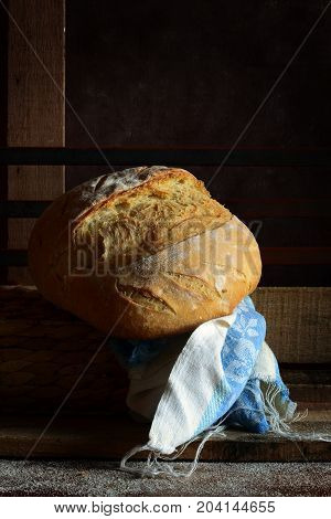 Freshly baked bread with wheat flour with crispy crust