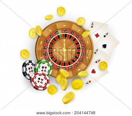 Group of casino symbols - roulette wheel, chips, tokens, playing cards, golden coins, vector illustration on white background. Casino, gambling concept - roulette wheel, chips, playing, golden coins