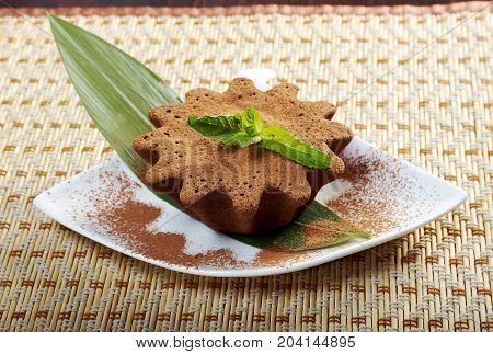 Delicious chocolate fudge brownie  , close up traditional meal