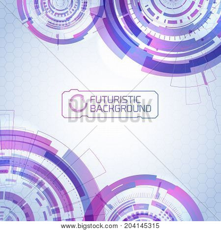 Modern technology background with detailed images of futuristic purple circles colored in different shades of purple and title text vector illustration