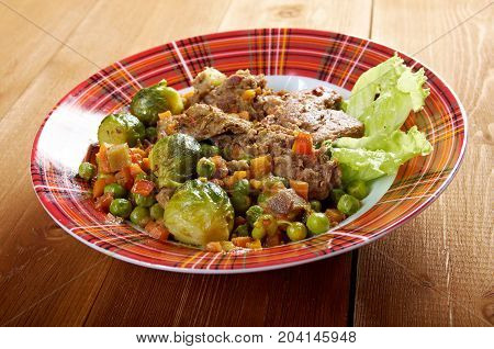 vegetables with spices and mincemeat.  , close up traditional meal