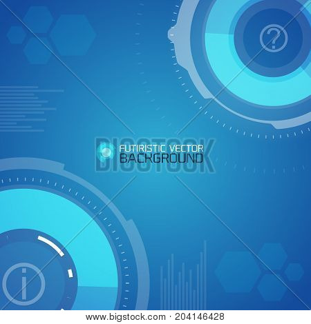 Futuristic Scientific Template with abstract circles and hexagons on blue background vector illustration