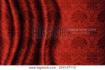 Traditional Red Chinese Silk Satin Fabric Cloth Background Botanic Spiral Vine Flower
