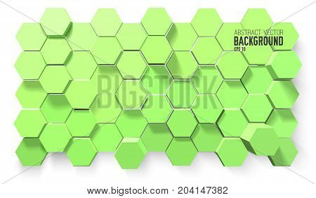 Abstract geometric scientific template with 3d green hexagons in minimalistic style on white background vector illustration