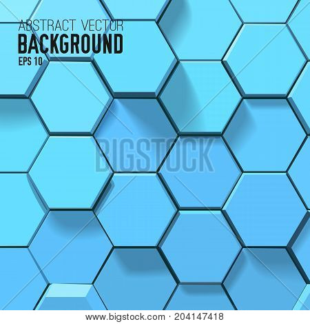 Abstract geometric template with 3d blue light hexagons in minimalistic style vector illustration