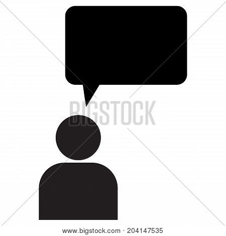 Business People and Speech Bubble Black Icon