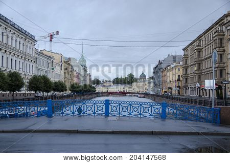 19TH SEPTEMBER 2012, ST PETERSBURG, RUSSIA - View of the Blue Bridge over the Moyka river in St Petersburg Russia