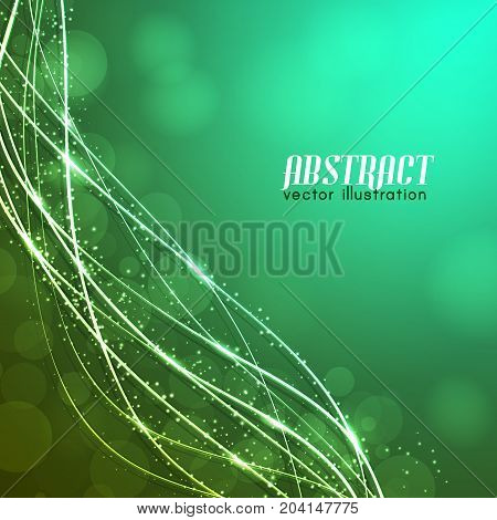 Glowing curved fibres with sparkles and blurred lights on green background with text vector illustration